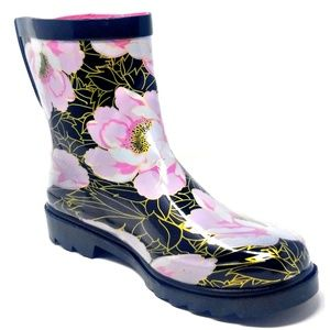 """Women 7"""" Ankle Rose Gold Rubber Rain Boots"""